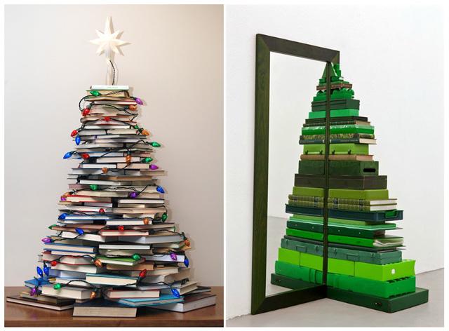 20 ideas para hacer tu propio rbol de navidad diy - Arbol de navidad con libros ...