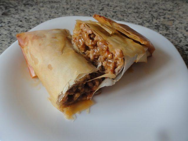 Receta de cocina Burritos de Carne con pasta Filo