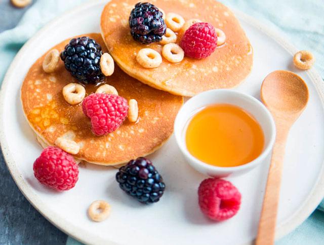 Receta de cocina facil pancakes con Cheerios