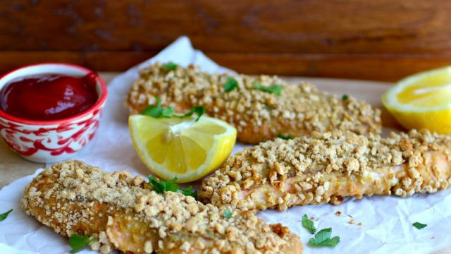 Receta de cocina de palitos de pescado con Cheerios