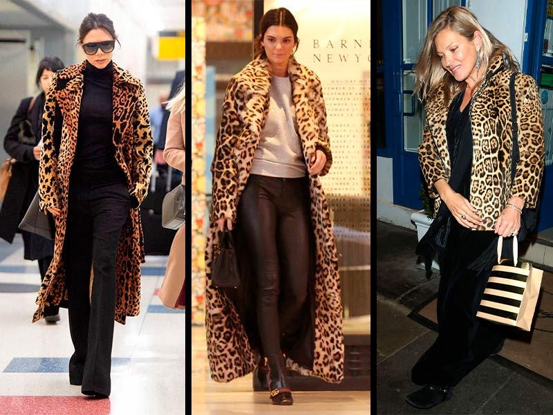 Victoria Beckham, Kendal Jenner y Kate Moss llevan el estampado de leopardo, otra de las prendas de abrigo imprescindibles para sobrellevar el frío.