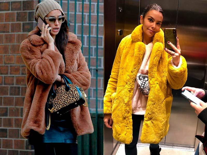 Irina Shayk y Cristina Pedroche con dos abrigos Teddy Bear. Estas prendas de peluche son imprescindibles esta temporada.