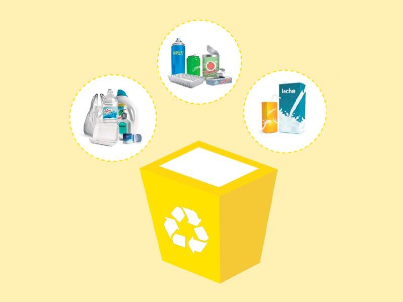 Dibujo ilustrativo de los envases que hay que reciclar en el contendor amarillo. Fuente: Ecoembes
