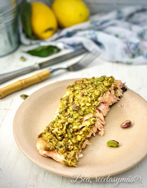 receta facil de salmon con mostaza y pistachos