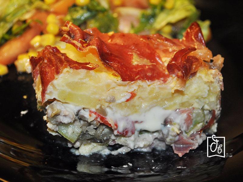 receta de cocina pastel de carne, tortilla y verduras