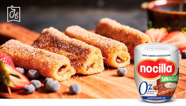 receta con Nocilla rollitos de tostada francesa