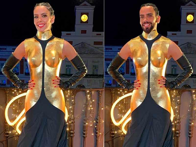 Cristina Pedroche en su versión femenina y masculina llevando el vestido de las Campanadas.