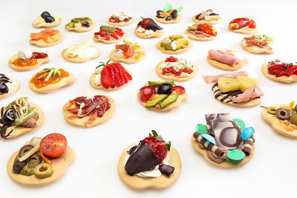 canapés dulces y salados con Galletas Marineras DaVeiga