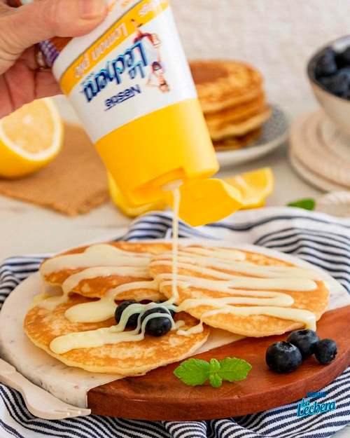 postres con topping de limón La Lechera Tortitas pancakes