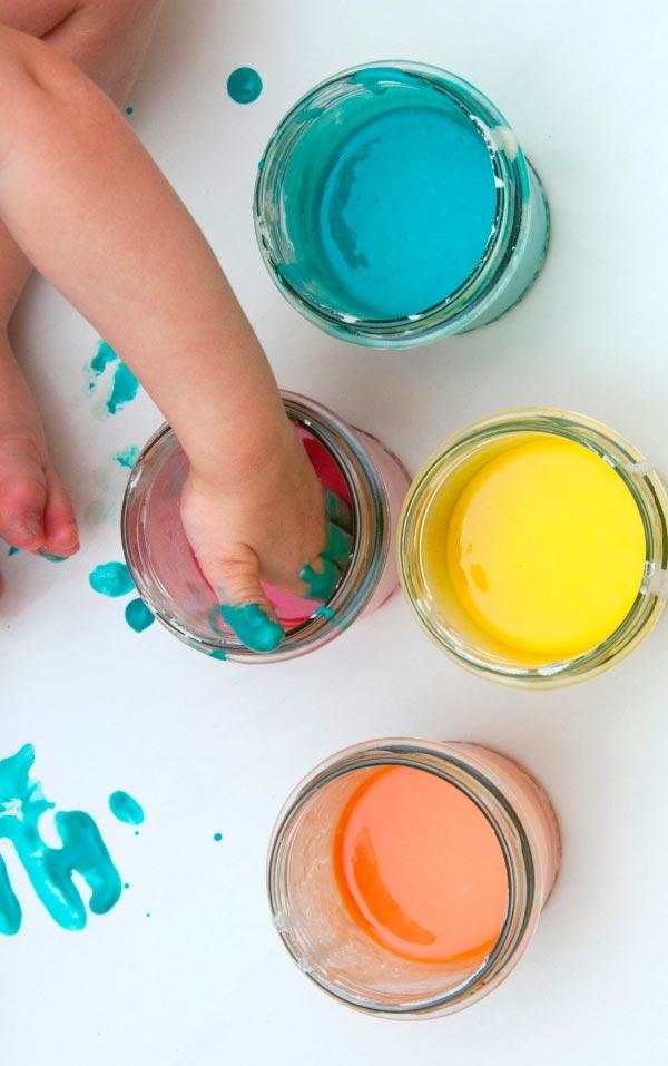 receta pintura casera de manos para bebes