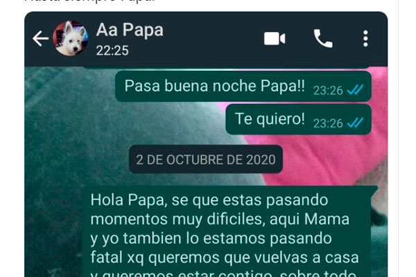 último WhatsApp a su padre antes de morir