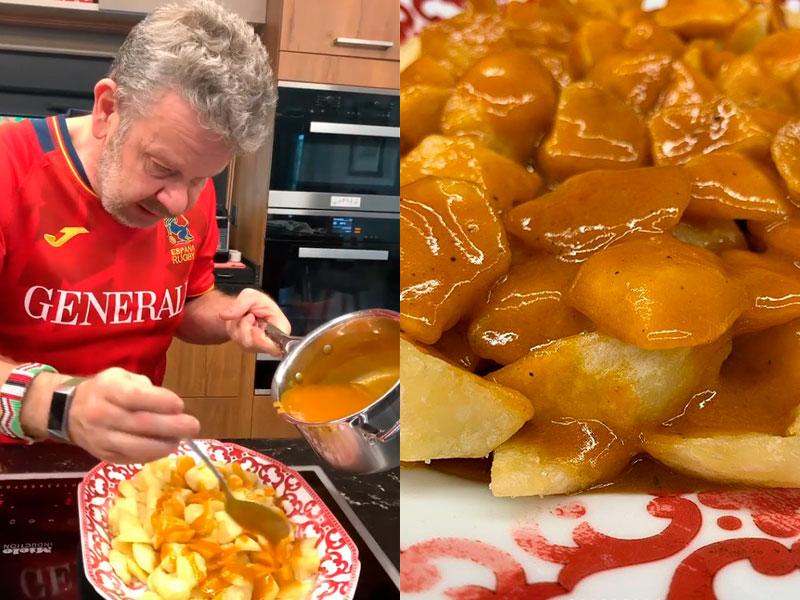 Alberto Chicote cocinando su receta viral de patatas bravas en Instagram.