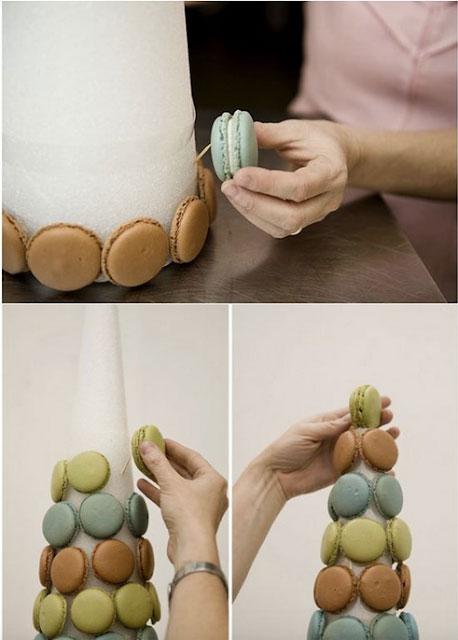 cómo hacer torre de Macarons para decorar
