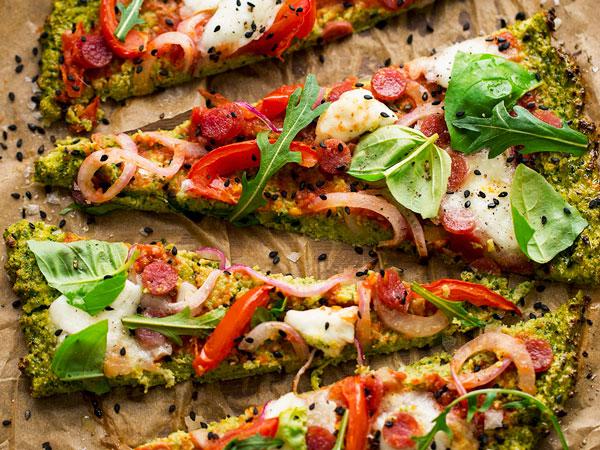 pizza saludable brócoli y avena