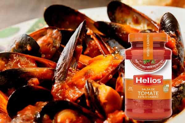3 guisos con salsa de tomate Mejillones en salsa marinera