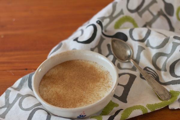 Arroz con leche y agua de coco