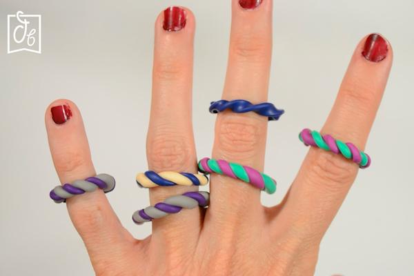anillos de ceramica DIY efecto rizado