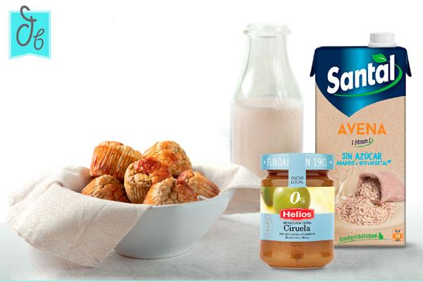 Magdalenas sin azúcar y sin lactosa, rellenas de mermelada